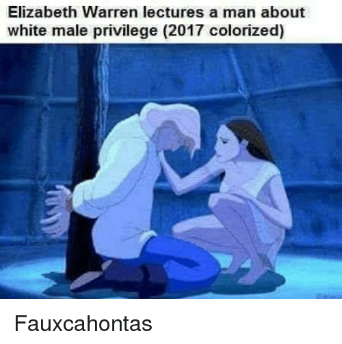 Elizabeth Warren, Memes, and White: Elizabeth Warren lectures a man about  white male privilege (2017 colorized) Fauxcahontas