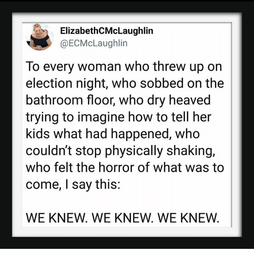 How To, Kids, and How: ElizabethCMcLaughlin  @ECMcLaughlin  To every woman who threw up on  election night, who sobbed on the  bathroom floor, who dry heaved  trying to imagine how to tell her  kids what had happened, who  couldn't stop physically shaking,  who felt the horror of what was to  come, I say this:  WE KNEW. WE KNEW. WE KNEW.