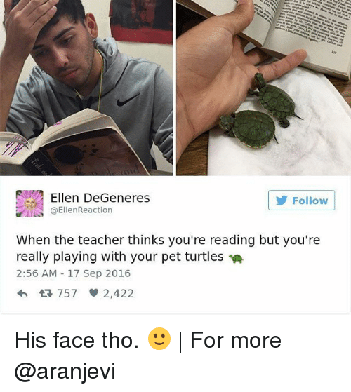 Ellen Degenerate: Ellen DeGeneres  Follow  ta EllenReaction  When the teacher thinks you're reading but you're  really playing with your pet turtles  2:56 AM 17 Sep 2016  4h 757 2,422 His face tho. 🙂 | For more @aranjevi