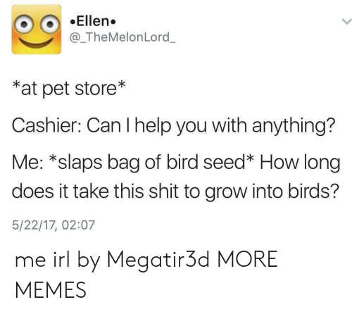 Ellen: Ellen.  @_TheMelonLord_  *at pet store*  Cashier: Can I help you with anything?  Me: *slaps bag of bird seed* How long  does it take this shit to grow into birds?  5/22/17, 02:07 me irl by Megatir3d MORE MEMES
