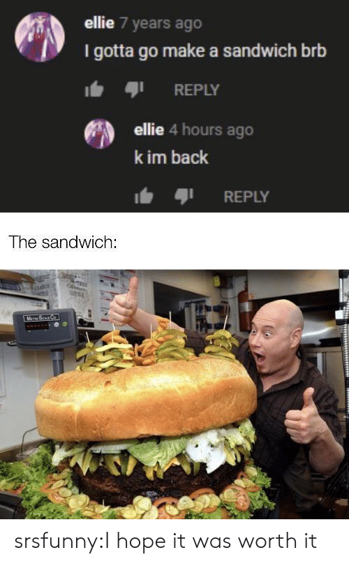 gotta-go: ellie 7 years ago  I gotta go make a sandwich brb  REPLY  ellie 4 hours ago  k im back  REPLY  The sandwich:  M Sur C srsfunny:I hope it was worth it