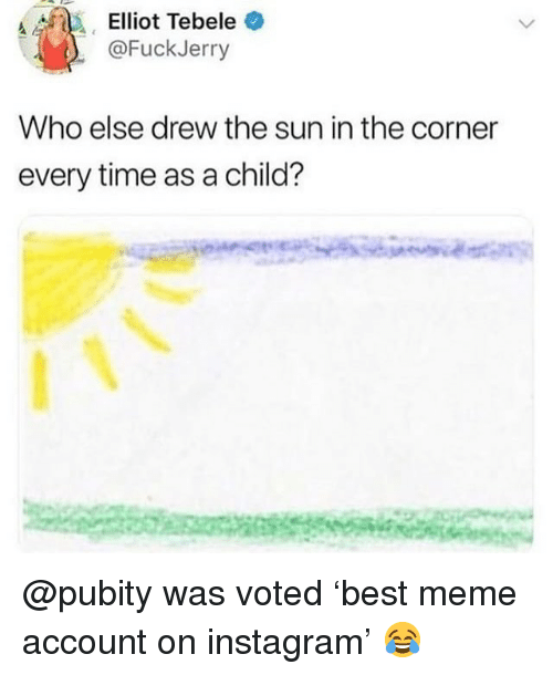 Funny, Instagram, and Meme: Elliot Tebele  @FuckJerry  Who else drew the sun in the corner  every time as a child? @pubity was voted 'best meme account on instagram' 😂
