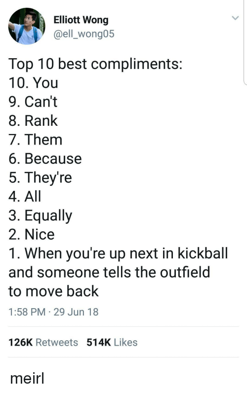 Best, MeIRL, and Nice: Elliott Wong  @ell_wong05  Top 10 best compliments  10. You  9. Can't  8. Rank  7. Them  6. Because  5. They're  4. All  3. Equally  2. Nice  1. When you're up next in kickball  and someone tells the outfield  to move back  1:58 PM 29 Jun 18  126K Retweets514K Likes meirl