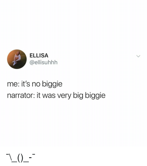 biggie: ELLISA  @ellisuhhh  me: it's no biggie  narrator: it was very big biggie ¯\_(ツ)_-¯