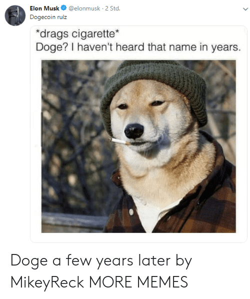 Doge: Elon Musk@elonmusk 2 Std  Dogecoin rulz  drags cigarette  Doge? I haven't heard that name in years. Doge a few years later by MikeyReck MORE MEMES