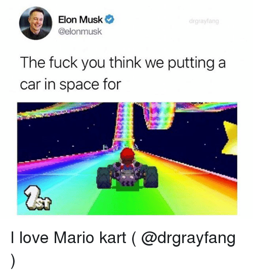 Fuck You, Love, and Mario Kart: Elon Musk*  @elonmusk  drgrayfang  The fuck you think we putting a  car in space for I love Mario kart ( @drgrayfang )