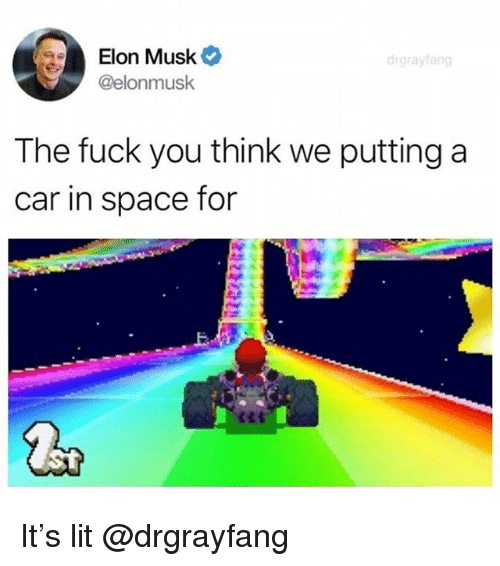 Fuck You, Lit, and Fuck: Elon Musk  @elonmusk  drgrayfang  The fuck you think we puttinga  car in space for It's lit @drgrayfang