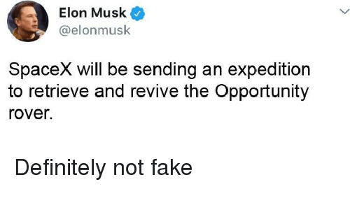Definitely, Fake, and Opportunity: Elon Musk  @elonmusk  SpaceX will be sending an expedition  to retrieve and revive the Opportunity  rover. Definitely not fake