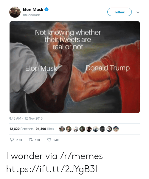 mus: Elon Musk  Follow  @elonmusk  Not knowing whether  their tweets are  real or not  Elon Mus  onald Trump  8:43 AM-12 Nov 2018  12,820 Retweets 94,490 Likes I wonder via /r/memes https://ift.tt/2JYgB3I