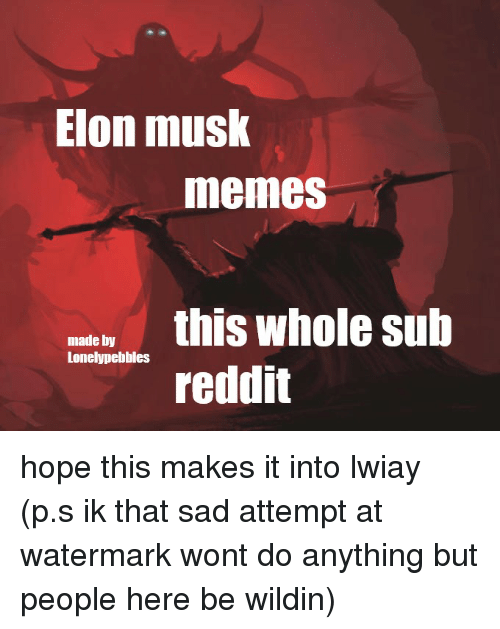 Memes, Reddit, and Sad: Elon musk  memes  madey this whole sub  Lonelypebbles  reddit