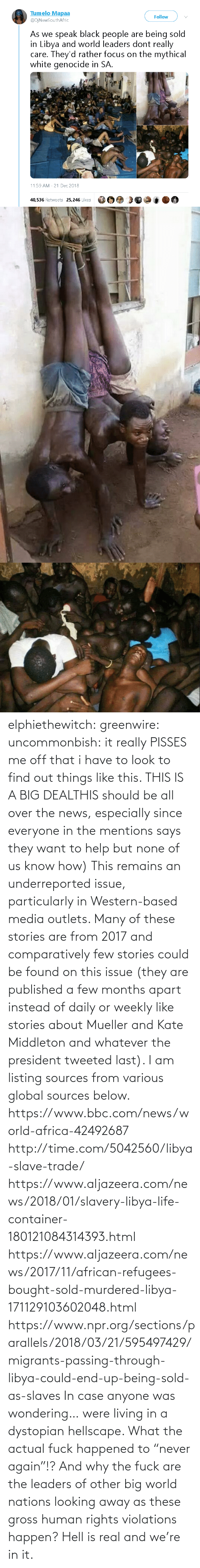 "About: elphiethewitch: greenwire:  uncommonbish:  it really PISSES me off that i have to look to find out things like this. THIS IS A BIG DEALTHIS should be all over the news, especially since everyone in the mentions says they want to help but none of us know how)  This remains an underreported issue, particularly in Western-based media outlets. Many of these stories are from 2017 and comparatively few stories could be found on this issue (they are published a few months apart instead of daily or weekly like stories about Mueller and Kate Middleton and whatever the president tweeted last). I am listing sources from various global sources below.  https://www.bbc.com/news/world-africa-42492687 http://time.com/5042560/libya-slave-trade/ https://www.aljazeera.com/news/2018/01/slavery-libya-life-container-180121084314393.html https://www.aljazeera.com/news/2017/11/african-refugees-bought-sold-murdered-libya-171129103602048.html https://www.npr.org/sections/parallels/2018/03/21/595497429/migrants-passing-through-libya-could-end-up-being-sold-as-slaves   In case anyone was wondering… were living in a dystopian hellscape.  What the actual fuck happened to ""never again""!? And why the fuck are the leaders of other big world nations looking away as these gross human rights violations happen?  Hell is real and we're in it."