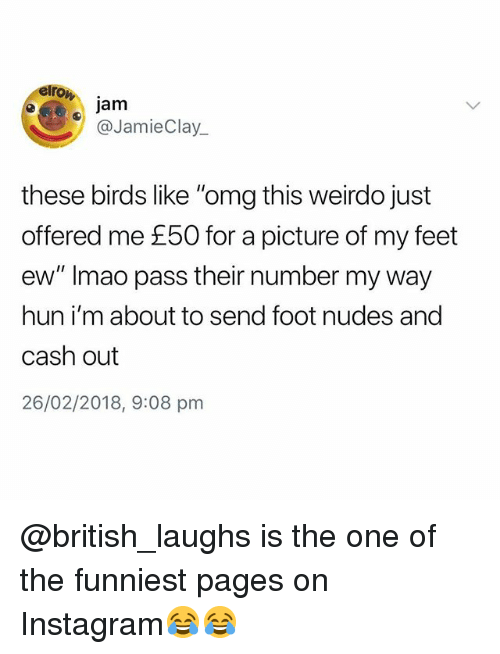 "Instagram, Nudes, and Omg: elro  jam  @JamieClay  these birds like ""omg this weirdo just  offered me £50 for a picture of my feet  ew"" Imao pass their number my way  hun i'm about to send foot nudes and  cash out  26/02/2018, 9:08 pmm @british_laughs is the one of the funniest pages on Instagram😂😂"