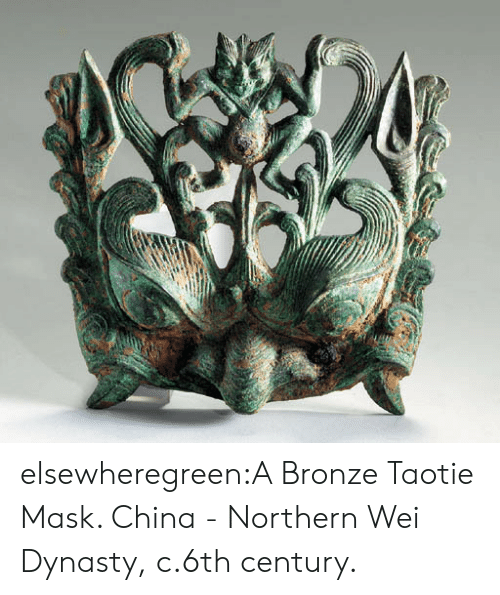 Tumblr, China, and Blog: elsewheregreen:A Bronze Taotie Mask. China - Northern Wei Dynasty, c.6th century.