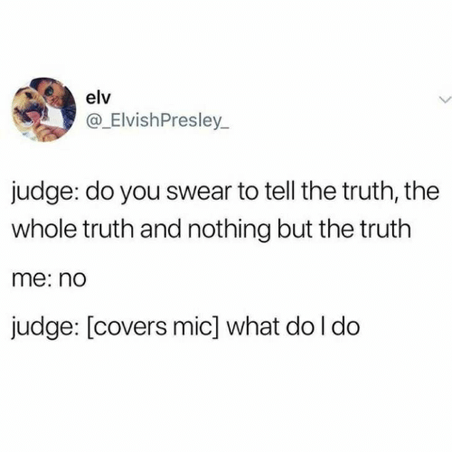Covers, Truth, and Judge: elv  @_ElvishPresley  judge: do you swear to tell the truth, the  whole truth and nothing but the truth  me:no  judge: [covers mic] what do I do