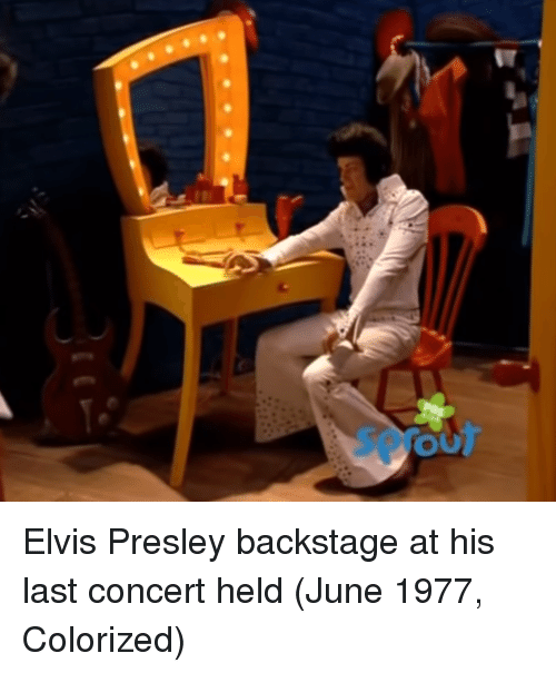 Elvis Presley, Elvis, and Backstage: Elvis Presley backstage at his last concert held (June 1977, Colorized)
