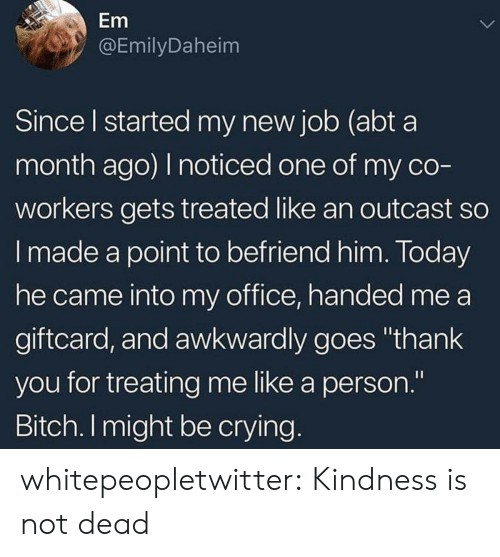 """Bitch, Crying, and Target: Em  @EmilyDaheim  Since l started my new job (abt a  month ago) I noticed one of my co  workers gets treated like an outcast so  I made a point to befriend him. Today  he came into my office, handed me a  giftcard, and awkwardly goes """"thank  you for treating me like a person.""""  Bitch. I might be crying whitepeopletwitter:  Kindness is not dead"""