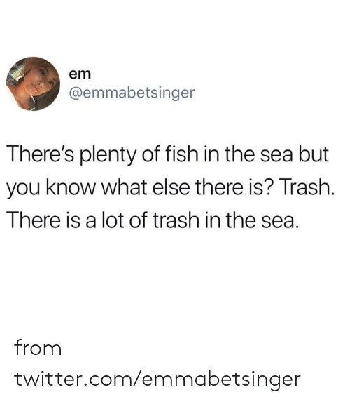 Dank, Trash, and Twitter: em  @emmabetsinger  There's plenty of fish in the sea but  you know what else there is? Trash.  There is a lot of trash in the sea. from twitter.com/emmabetsinger