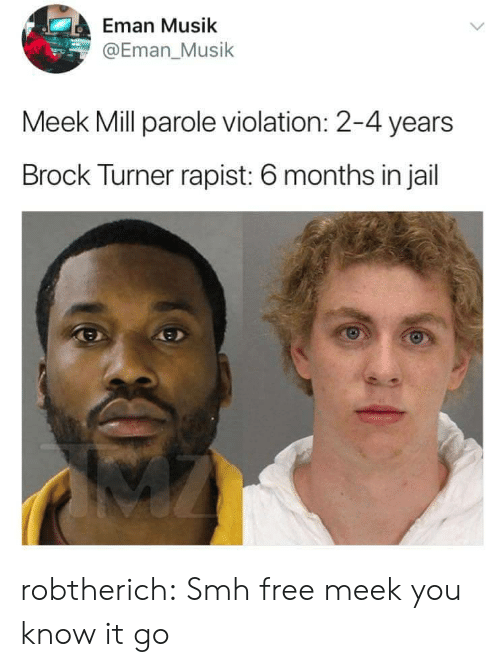 Musik: Eman Musik  @Eman_Musik  Meek Mill parole violation: 2-4 years  Brock Turner rapist: 6 months in jail robtherich:  Smh free meek  you know it go
