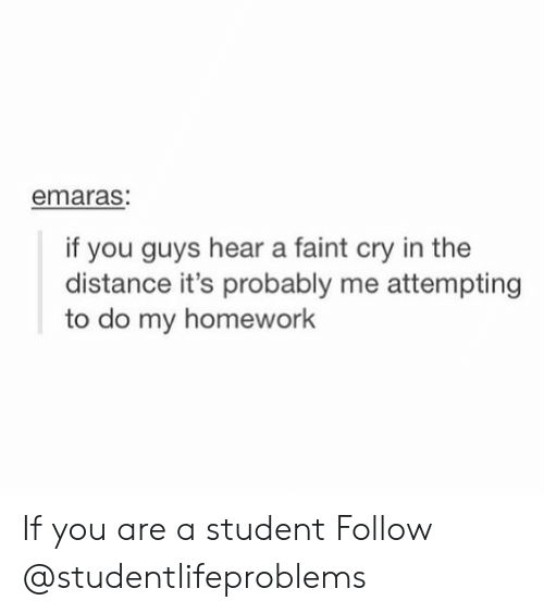 Homework, Student, and Cry: emaras  if you guys hear a faint cry in the  distance it's probably me attempting  to do my homework If you are a student Follow @studentlifeproblems