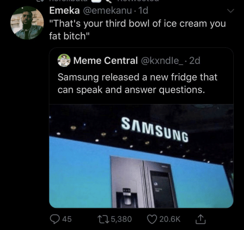 "ice: Emeka @emekanu · 1d  ""That's your third bowl of ice cream you  fat bitch""  Meme Central @kxndle_ · 2d  Samsung released a new fridge that  can speak and answer questions.  SAMSUNG  20.6K  275,380  45"