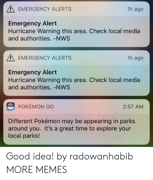Localism: EMERGENCY ALERTS  1h ago  Emergency Alert  Hurricane Warning this area. Check local media  and authorities. -NWS  EMERGENCY ALERTS  1h ago  Emergency Alert  Hurricane Warning this area. Check local media  and authorities. -NWS  POKEMON GO  2:57 AM  Different Pokémon may be appearing in parks  around you. It's a great time to explore your  local parks! Good idea! by radowanhabib MORE MEMES