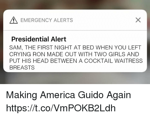 America, Crying, and Girls: EMERGENCY ALERTS  Presidential Alert  SAM, THE FIRST NIGHT AT BED WHEN YOU LEFT  CRYING RON MADE OUT WITH TWO GIRLS AND  PUT HIS HEAD BETWEEN A COCKTAIL WAITRESS  BREASTS Making America Guido Again https://t.co/VmPOKB2Ldh