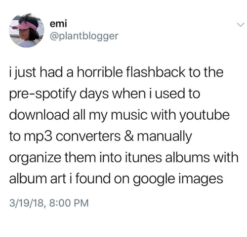 Google, Music, and youtube.com: emi  @plantblogger  i just had a horrible flashback to the  pre-spotify days when i used to  download all my music with youtube  to mp3 converters & manually  organize them into itunes albums with  album art i found on google images  3/19/18, 8:00 PM