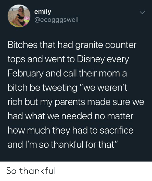 "Bitch, Disney, and Parents: emily  @ecogggswell  Bitches that had granite counter  tops and went to Disney every  February and call their mom a  bitch be tweeting ""we weren't  rich but my parents made sure we  had what we needed no matter  how much they had to sacrifice  and I'm so thankful for that"" So thankful"