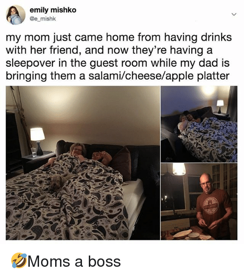 Apple, Dad, and Memes: emily mishko  @e mishk  my mom just came home from having drinks  with her friend, and now they're having a  sleepover in the guest room while my dad is  bringing them a salami/cheese/apple platter 🤣Moms a boss