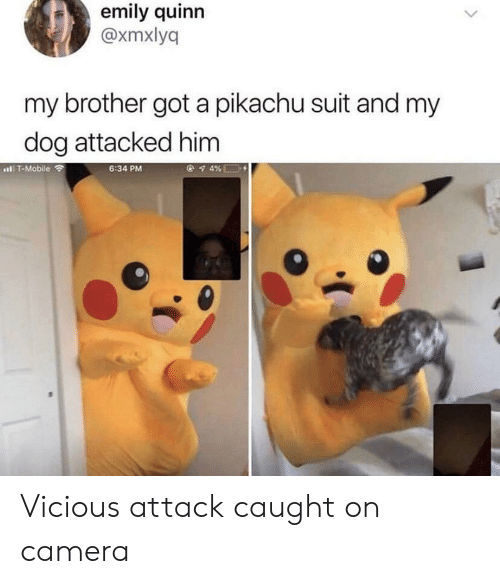 Pikachu, T-Mobile, and Camera: emily quinn  @xmxlyq  my brother got a pikachu suit and my  dog attacked him  l T-Mobile  6:34 PM Vicious attack caught on camera