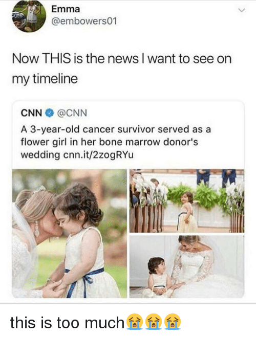 cnn.com, News, and Too Much: Emma  @embowers01  Now THIS is the news I want to see on  my timeline  CNN @CNN  A 3-year-old cancer survivor served as a  flower girl in her bone marrow donor's  wedding cnn.it/2zogRYu this is too much😭😭😭