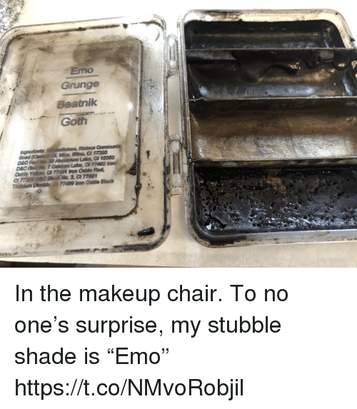 """Emo, Makeup, and Memes: Emo  Grunge  Beatnilk  Goth In the makeup chair. To no one's surprise, my stubble shade is """"Emo"""" https://t.co/NMvoRobjil"""