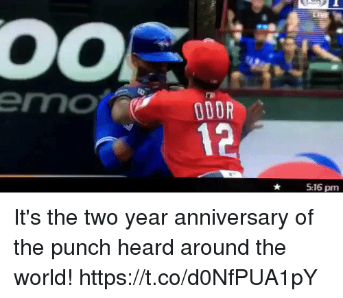 Emo, Memes, and World: emo  ODOR  12  5:16 pm It's the two year anniversary of the punch heard around the world! https://t.co/d0NfPUA1pY