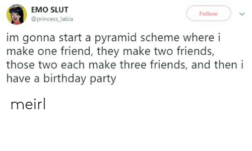birthday party: EMO SLUT  Follow  @princess_labia  im gonna start a pyramid scheme where i  make one friend, they make two friends,  those two each make three friends, and then i  have a birthday party meirl
