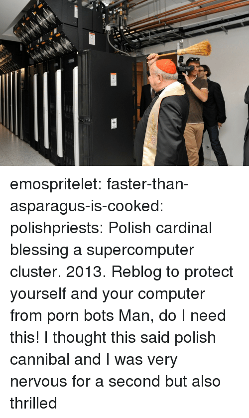 Tumblr, Asparagus, and Blog: emospritelet: faster-than-asparagus-is-cooked:  polishpriests:  Polish cardinal blessing a supercomputer cluster. 2013.  Reblog to protect yourself and your computer from porn bots  Man, do I need this!   I thought this said polish cannibal and I was very nervous for a second  but also thrilled