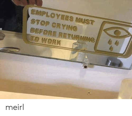 Crying, Work, and MeIRL: EMPLOYEES MUST  STOP CRYING  BEFORE RETURNING  TO WORK meirl