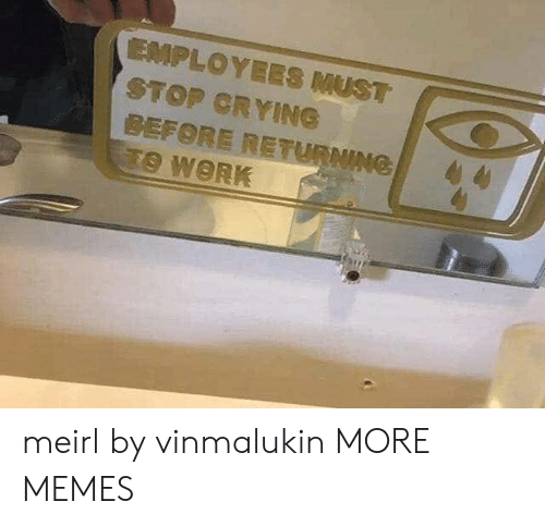 Crying, Dank, and Memes: EMPLOYEES MUST  STOP CRYING  BEFORE RETURNING  TO WORK meirl by vinmalukin MORE MEMES
