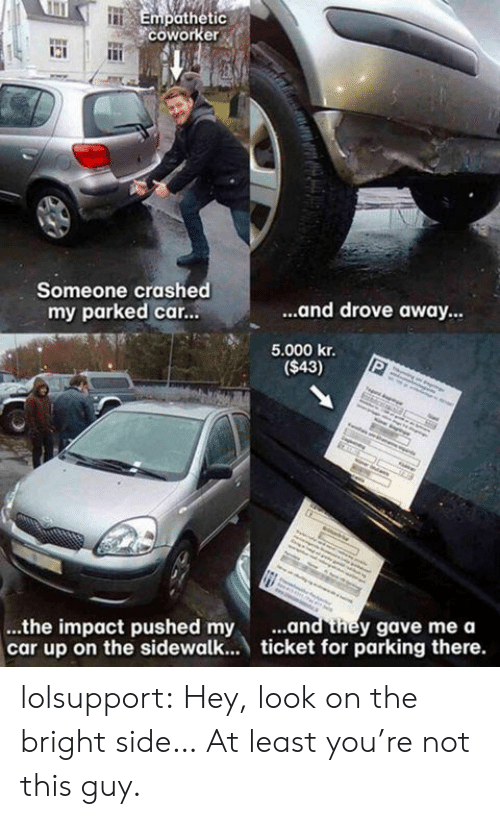 Tumblr, Blog, and Http: Empothetic  coworke  Someone crashed  my parked car...  ...and drove away  5.000 kr.  ($43)  ...the impact pushed my ..  car up on the sidewalk... ticket for parking there.  and they gave me a lolsupport:  Hey, look on the bright side… At least you're not this guy.