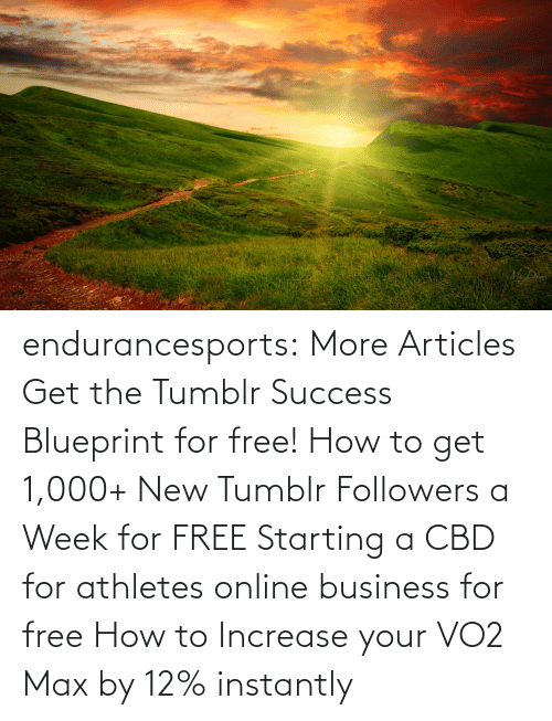 Max: endurancesports: More Articles Get the Tumblr Success Blueprint for free!  How to get 1,000+ New Tumblr Followers a Week for FREE Starting a CBD for athletes online business for free How to Increase your VO2 Max by 12% instantly