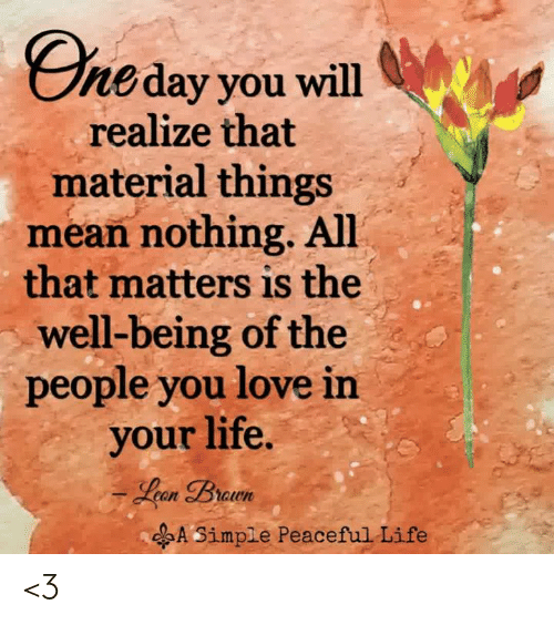 Life, Love, and Memes: Eneday you will  realize that  material things  mean nothing. All  that matters is the  well-being of the  people you love in  your life  A Simple Peaceful Life <3