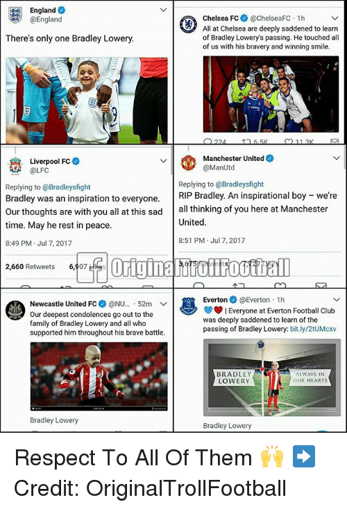 "Chelsea, Club, and England: England  @England  Chelsea FC @chelseaFC 1h  All at Chelsea are deeply saddened to learn  of Bradley Lowery's passing. He touched all  of us with his bravery and winning smile.  There's only one Bradley Lowery.  Manchester United  @ManUtd  Liverpool FC  A@LFC  Replying to @Bradleysfight  Bradley was an inspiration to everyone.RIP Bradley. An inspirational boy  time. May he rest in peace  8:49 PM Jul 7, 2017  Replying to @Bradleysfight  were  Our thoughts are with you all at this sad all thinking of you here at Manchester  United  8:51 PM Jul 7, 2017  2,660 Retweets 6,907 Hkes  Everton@Everton 1h  Newcastle United FC* @NU.."" 52m 、ノ  Our deepest condolences go out to the  family of Bradley Lowery and all who  supported him throughout his brave battle.  Everyone at Everton Football Club  was deeply saddened to learn of the  passing of Bradley Lowery: bit.ly/2tUMcxv  BRADLEY  LOWERY  ALWAYS IN  OUR HEARTS  Bradley Lowery  Bradley Lowery Respect To All Of Them 🙌 ➡️Credit: OriginalTrollFootball"