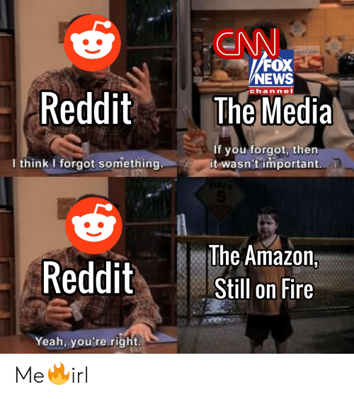Amazon, Fire, and News: ENN  FOX  NEWS  Reddit  channel  The Media  if you forgot, then  it wasn't important.  I think I forgot something.  @HelplessRock  The Amazon,  Reddit  Still on Fire  Yeah, you're right Me🔥irl