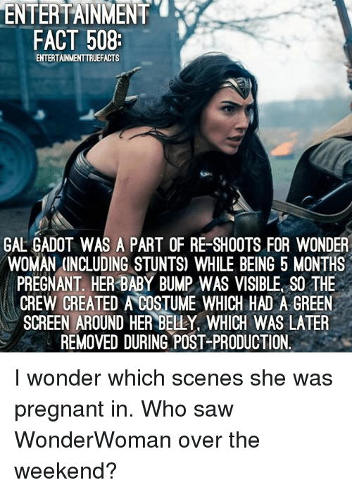 Memes, Pregnant, and Saw: ENTERTAINMENT  FACT 508  ENTERTAINMENTTRUEFACTS  GAL ADO  WAS A PART OF RE-SHOOTS FOR WONDER  WOMAN (INCLUDING STUNTS) WHILE BEING 5 MONTHS  PREGNANT HER BABY BUMP WAS VISIBLE SO THE  CREW CREATED A COSTUME WHICH HAD A GREEN  SCREEN AROUND HER BELLY, WHICH WAS LATER  REMOVED DURING POST-PRODUCTION. I wonder which scenes she was pregnant in. Who saw WonderWoman over the weekend?