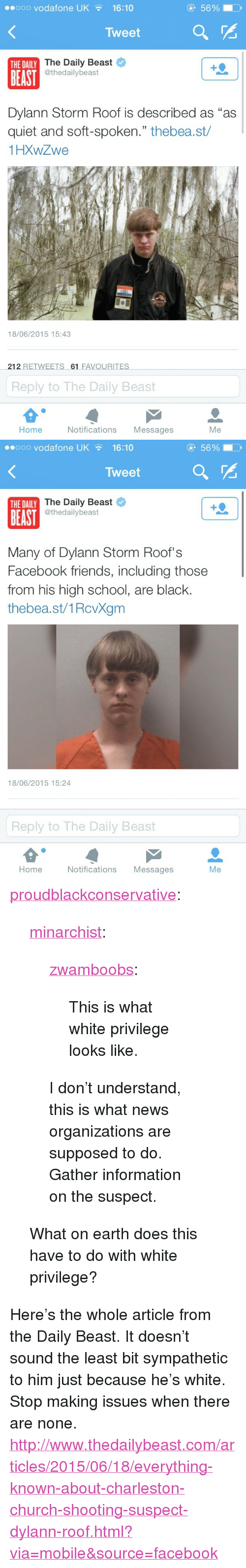 "Church, Facebook, and Friends: eooo vodafone UK16:10  5690  Tweet  The Daily Beast  @thedailybeast  THE DAILY  BEAST  Dylann Storm Roof is described as ""as  quiet and soft-spoken."" thebea.st/  1HXWZwe  18/06/2015 15:43  212 RETWEETS 61 FAVOURITES  Reply to The Daily Beast  Home  Notifications Messages  Me   ..ooo vodafone UK  16:10  5690  Tweet  The Daily Beast  @thedailybeast  THE DAILY  BEAST  Many of Dylann Storm Roof's  Facebook friends, including those  from his high school, are black.  thebea.st/1RcvXgm  18/06/2015 15:24  Reply to The Daily Beast  Home  Notifications Messages  Me <p><a class=""tumblr_blog"" href=""http://proudblackconservative.tumblr.com/post/121848653839/minarchist-zwamboobs-this-is-what-white"">proudblackconservative</a>:</p>  <blockquote><p><a class=""tumblr_blog"" href=""http://minarchist.tumblr.com/post/121847656894/zwamboobs-this-is-what-white-privilege-looks"">minarchist</a>:</p>  <blockquote><p><a class=""tumblr_blog"" href=""http://zwamboobs.tumblr.com/post/121841004836/this-is-what-white-privilege-looks-like"">zwamboobs</a>:</p>  <blockquote><p>This is what white privilege looks like.</p></blockquote>  <p>I don't understand, this is what news organizations are supposed to do. Gather information on the suspect.</p></blockquote>  <p>What on earth does this have to do with white privilege?<br/></p></blockquote>  <p>Here's the whole article from the Daily Beast. It doesn't sound the least bit sympathetic to him just because he's white. Stop making issues when there are none. <a href=""http://www.thedailybeast.com/articles/2015/06/18/everything-known-about-charleston-church-shooting-suspect-dylann-roof.html?via=mobile&source=facebook"">http://www.thedailybeast.com/articles/2015/06/18/everything-known-about-charleston-church-shooting-suspect-dylann-roof.html?via=mobile&source=facebook</a><br/></p>"