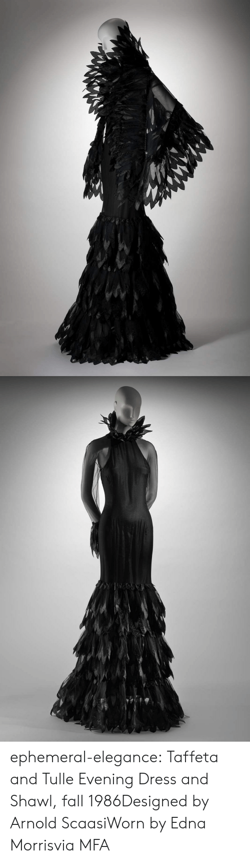 Fall, Tumblr, and Blog: ephemeral-elegance:  Taffeta and Tulle Evening Dress and Shawl, fall 1986Designed by Arnold ScaasiWorn by Edna Morrisvia MFA