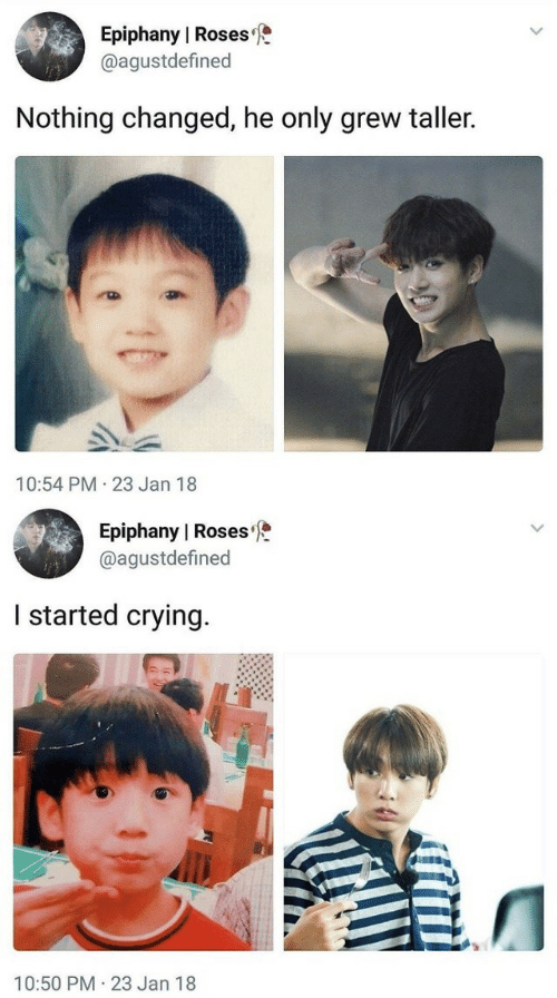 Crying, Epiphany, and Roses: Epiphany l Roses  @agustdefined  Nothing changed, he only grew taller.  10:54 PM 23 Jan 18   Epiphany I Roses  @agustdefined  I started crying  10:50 PM 23 Jan 18