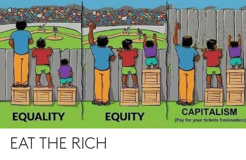 equity: EQUALITY  EQUITY  CAPITALISM  Pay for your tickets freeloaders) EAT THE RICH
