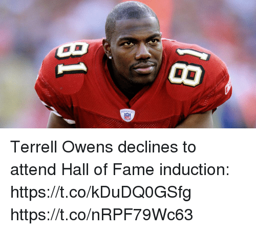 Memes, 🤖, and Terrell Owens: EQUIPM Terrell Owens declines to attend Hall of Fame induction: https://t.co/kDuDQ0GSfg https://t.co/nRPF79Wc63