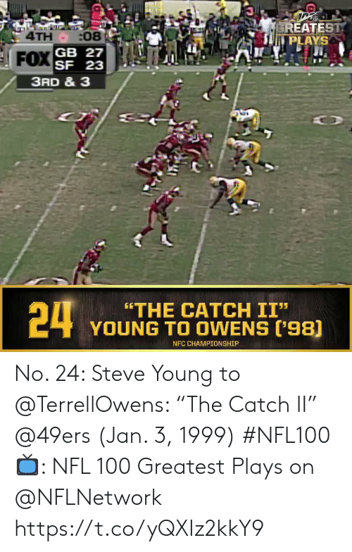 "Championship: EREATEST  PLAYS  4TH :08  SF 23  3RD & 3  24  ""THE CATCH II""  YOUNG TO OWENS ('98)  NFC CHAMPIONSHIP No. 24: Steve Young to @TerrellOwens: ""The Catch II"" @49ers (Jan. 3, 1999) #NFL100  📺: NFL 100 Greatest Plays on @NFLNetwork https://t.co/yQXIz2kkY9"