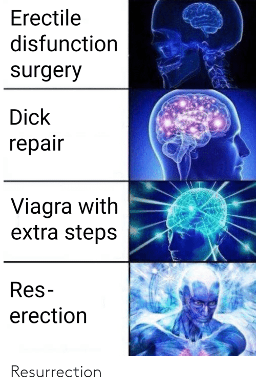 surgery: Erectile  disfunction  surgery  Dick  repair  Viagra with  extra steps  Res-  erection Resurrection
